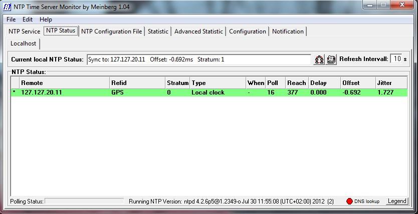 NTP Monitor console