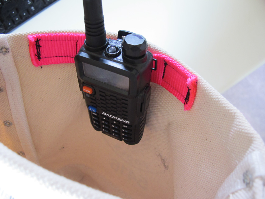 Pouch after modification radio clipped to added webbing