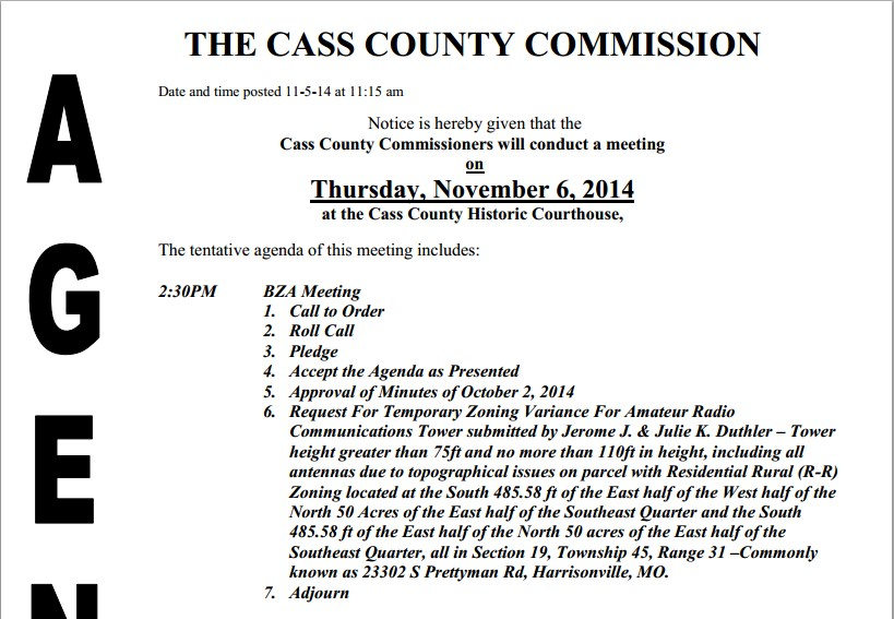 Cass County Commission Zoning Review Board agenda