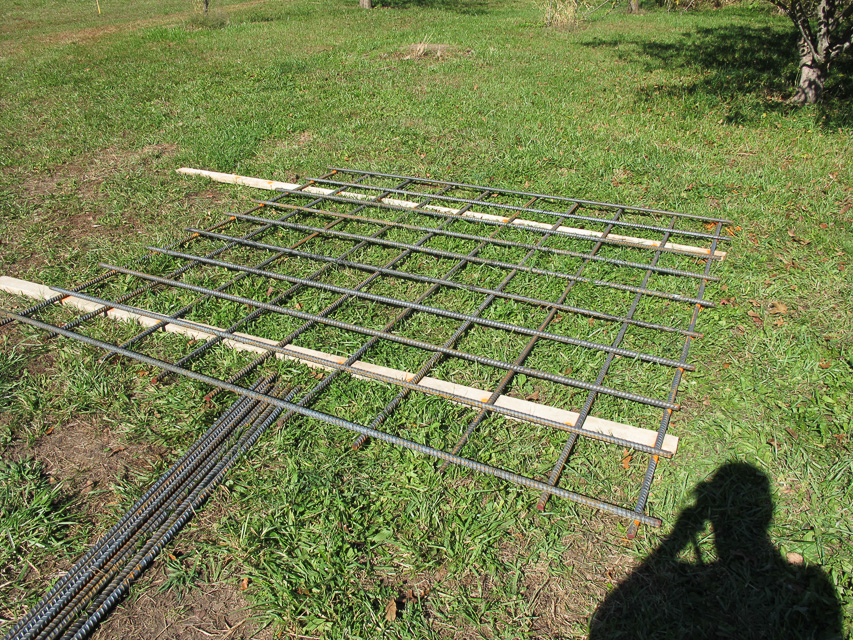 Bottom rebar mat, layout and tied outside of the form.