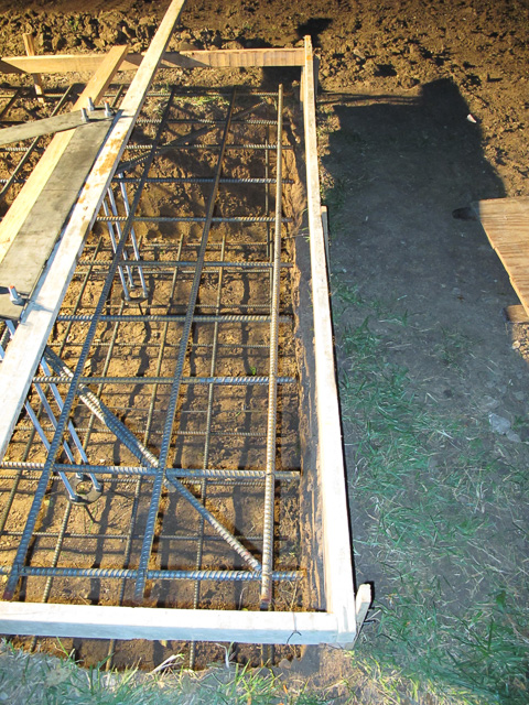 Top mat support detail, 7/8 rebar was driven into the ground and bent at a right angle and tied into an X.