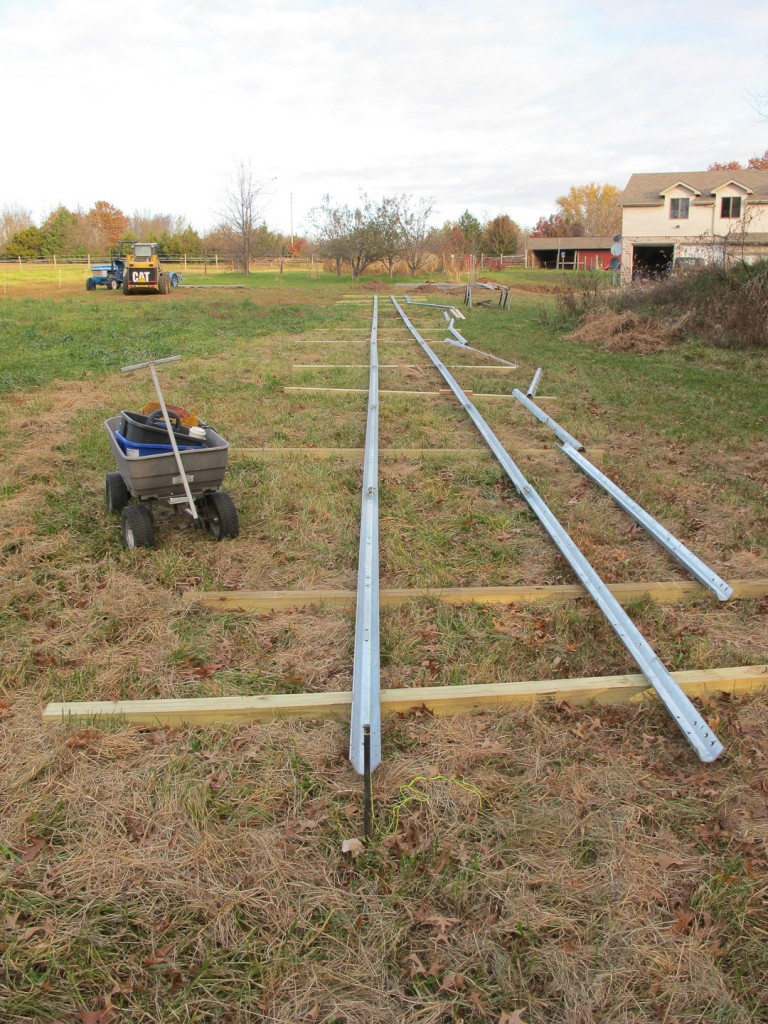 View of bare rails laid out and awaiting cross brace installation.