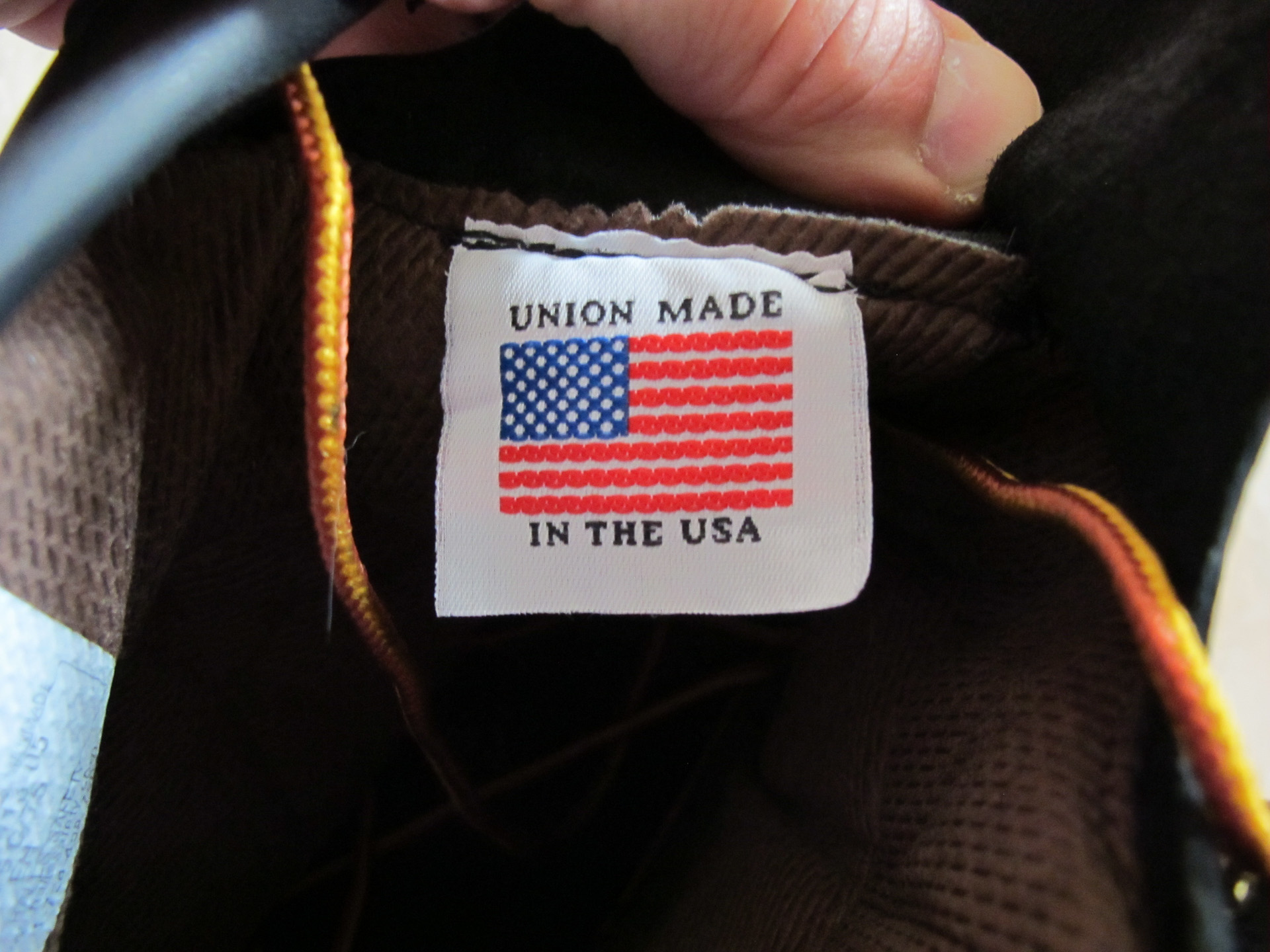 Union made in the USA tag